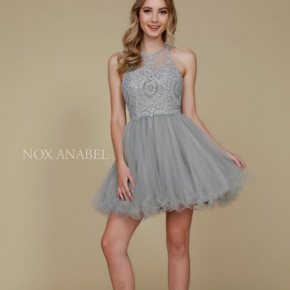 418f4da7f High Neckline Short Homecoming Dress B652. NWT. nox anabel